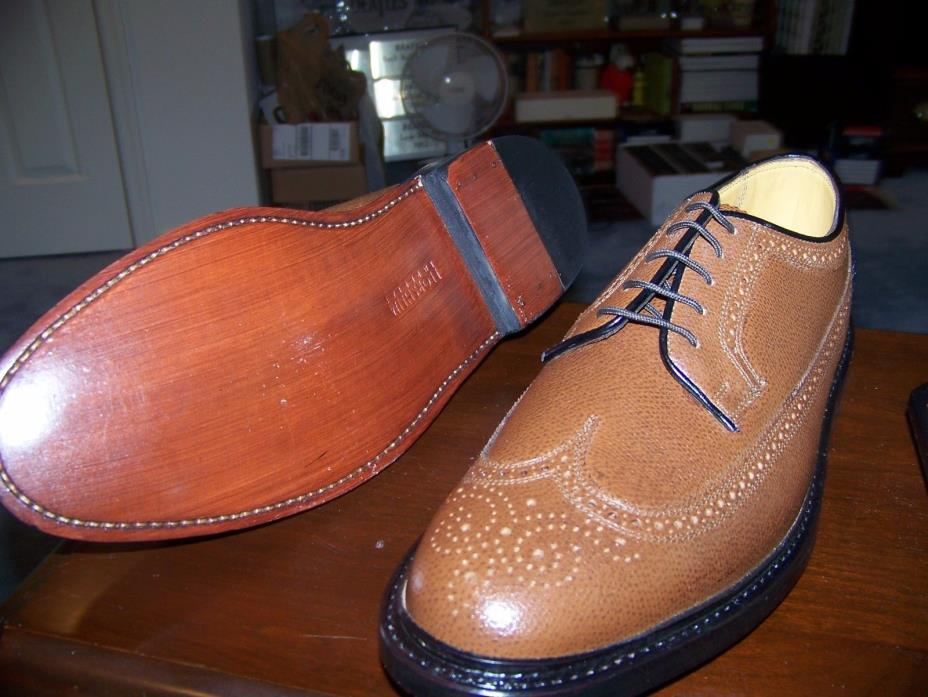NOS Florsheim Imperial Kenmoor Long Wingtip Shoes Cognac Pebbled Leather