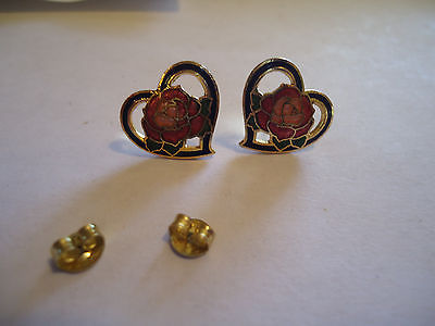 Heart Shaped Cloisonne Earrings with Rose