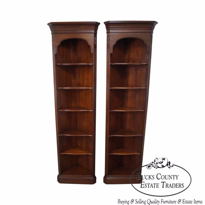 Ethan Allen Georgian Court Pair of Narrow Corner Cabinets Bookcases