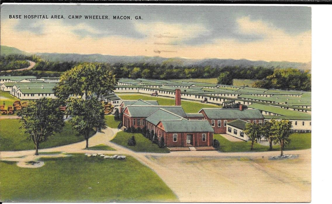 MACON GEORGIA US ARMY CAMP WHEELER MILITARY HOSPITALWWII LINEN  POSTCARD