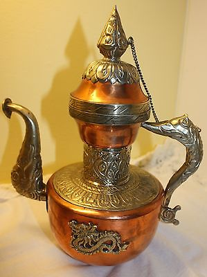 Antique Tibetan Copper with Silver Brass Ceremonial Dragon Ewer  / Teapot