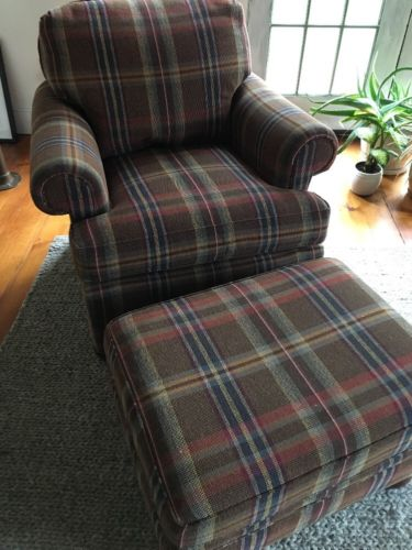 Harden Plaid Chair Ottoman Brown Blue Red