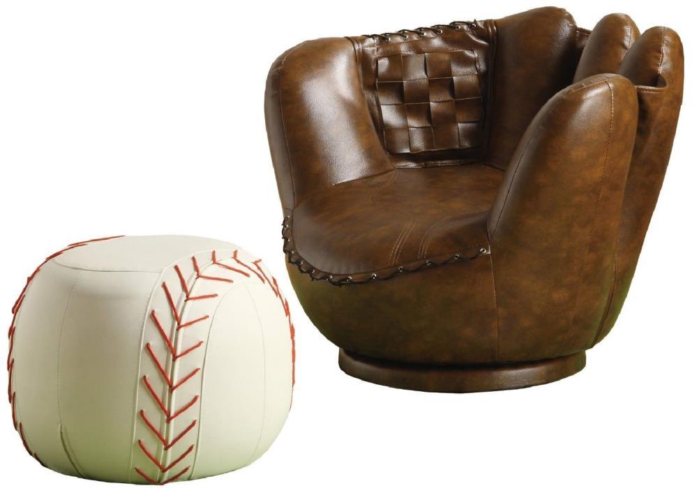 Baseball Glove Chair Ottoman Furniture Kids Seat Child Sofa