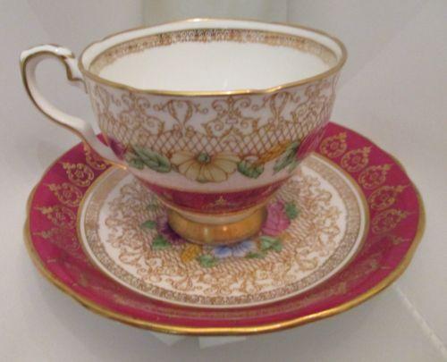 Vintage Royal Stafford Portrait Pattern Tea Cup And Saucer Set