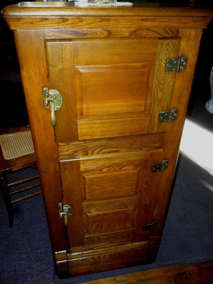 Antique Oak Ice Box cabinet brass icebox  refinished 1900's refrigerator ash