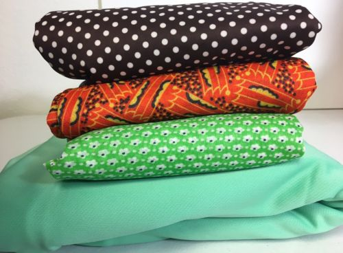 Vintage Fabric Lot Green Floral Retro Orange Brown White Polka Dot Polyester
