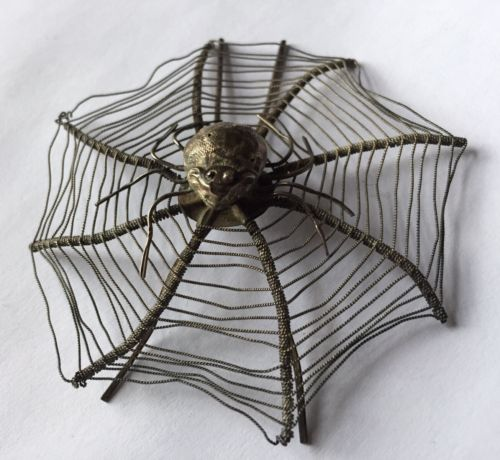 5 Antique Silver Chinese Export Spider Web Business Card Holder Hair Pin