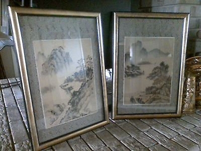 2 Japanese/Chinese Watercolor Landscape Mountains & Village Silk Painting Signed