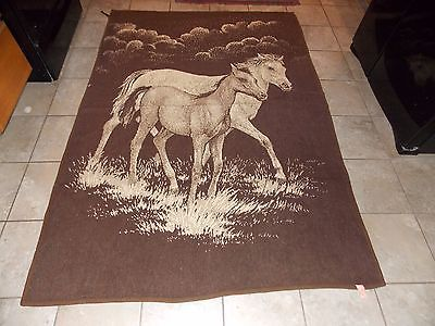 Horse Wool Blend Blanket Vintage Reversible Nice!