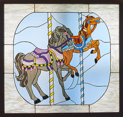 "Carousel Horse Stained Glass Window Panel 47"" x 45"" size"