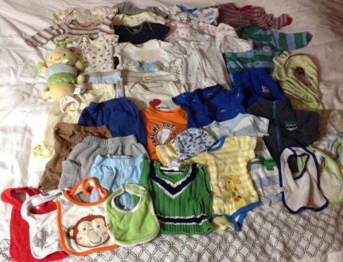 Baby Boys Clothing Size 0-3 Months Lot of 40 Items