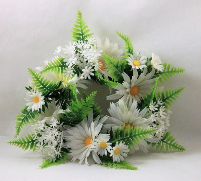 Vintage Plastic Daisy Candle Ring Plastic Leaves