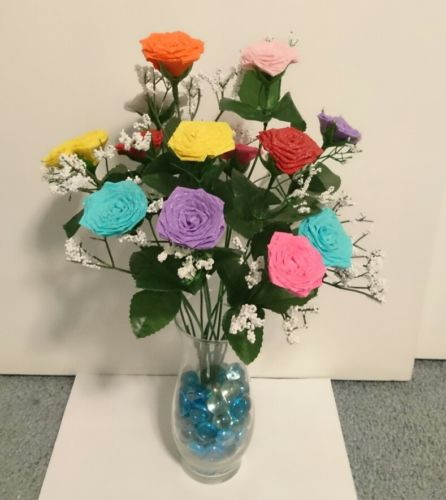 Mix color paper roses with vase!!!