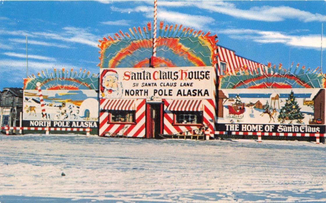 NORTH POLE ALASKA SANTA CLAUS HOUSE~511 SANTA CLAUSE LANE POSTCARD c1960s