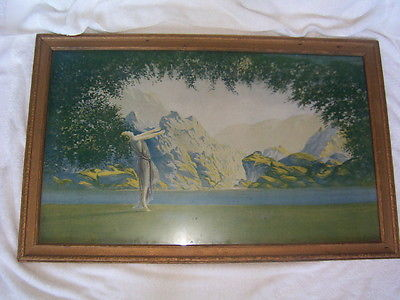 Original Antique Art Deco Robert Wood Lithograph Print Dawn Atkinson Parrish Era