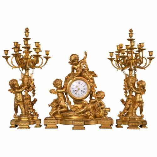 Large & Important Dore´ Bronze Three-Piece Clock Set with Cherubs by Charpentier