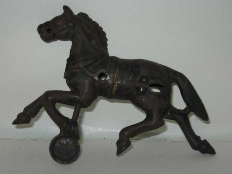 Antique Metal Horse from Child's Toy on Fixed Wheel  5 1/2