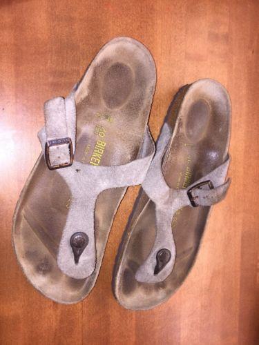 BIRKENSTOCK Gizeh light brown suede thongs sandals women 40 L9M7 narrow