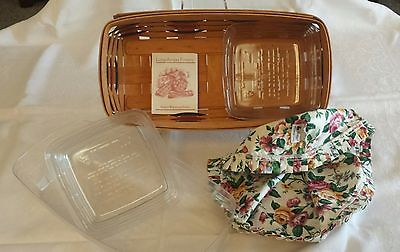 LONGABERGER WOOD BASKET with FABRIC & PLASTIC LINERS