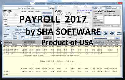 2017 Payroll Software - Fed & State Automatic Figured Taxes