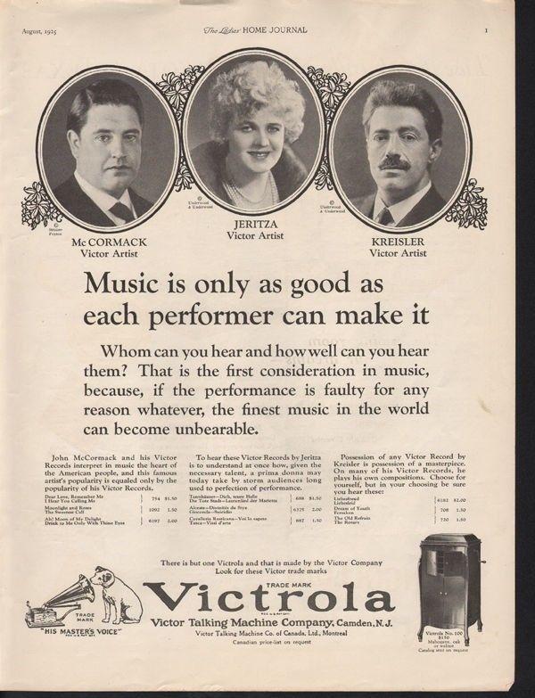1925 VICTROLA JERITZA MCCORMACK KREISLER CAMDEN MUSIC 13518