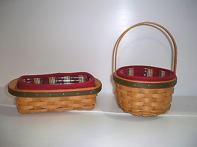 Longaberger Set of 2005 & 2006  Holiday Helper Baskets