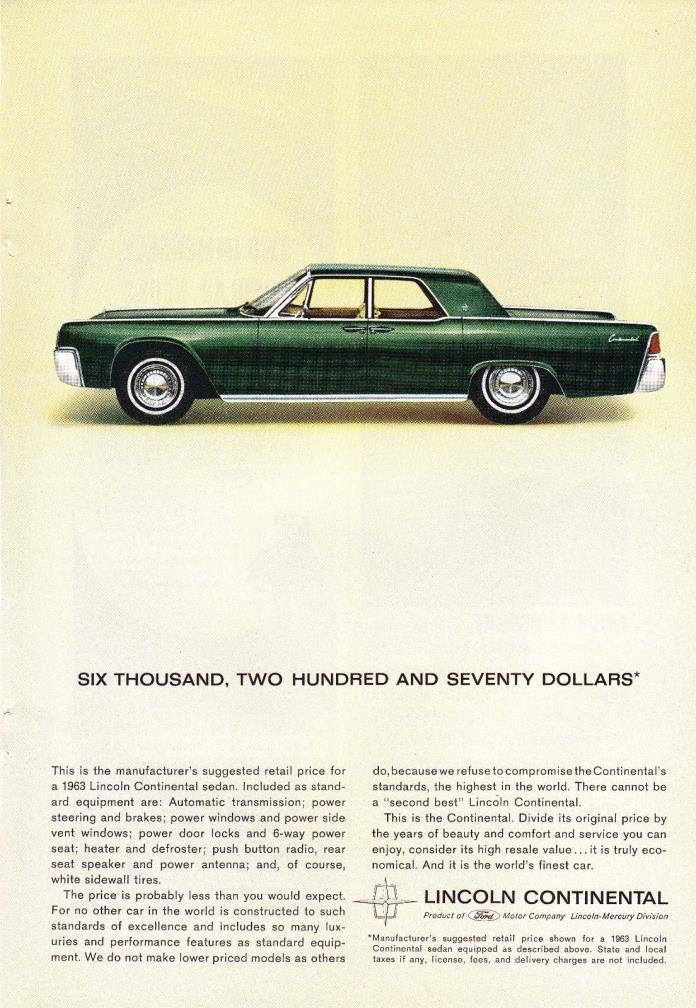 1963 Ad Lincoln Continental Original Antique Car Advertisement