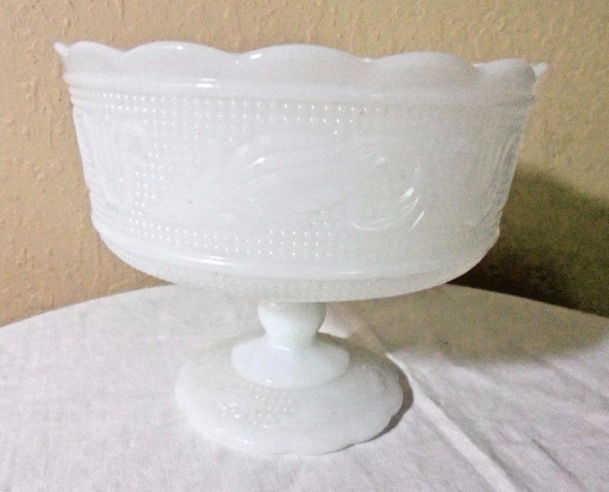 VINTAGE E.O. BRODY CO MILK GLASS FOOTED CANDY DISH USA CLEVELAND OHIO USA M6000