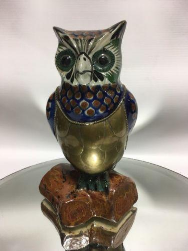Vtg.  Mexican Pottery & Brass Metal Owl Figurine Tonala Mexican Folk Art 8 1/2