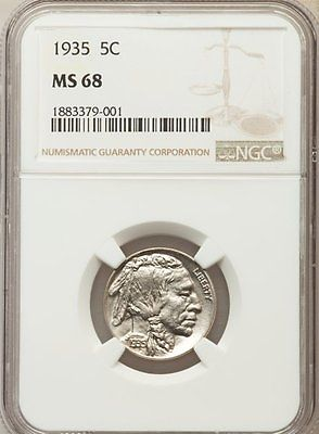 1935 NGC MS68 Buffalo Nickel  1 of 3 Finest Known  $32,000 Book Value!