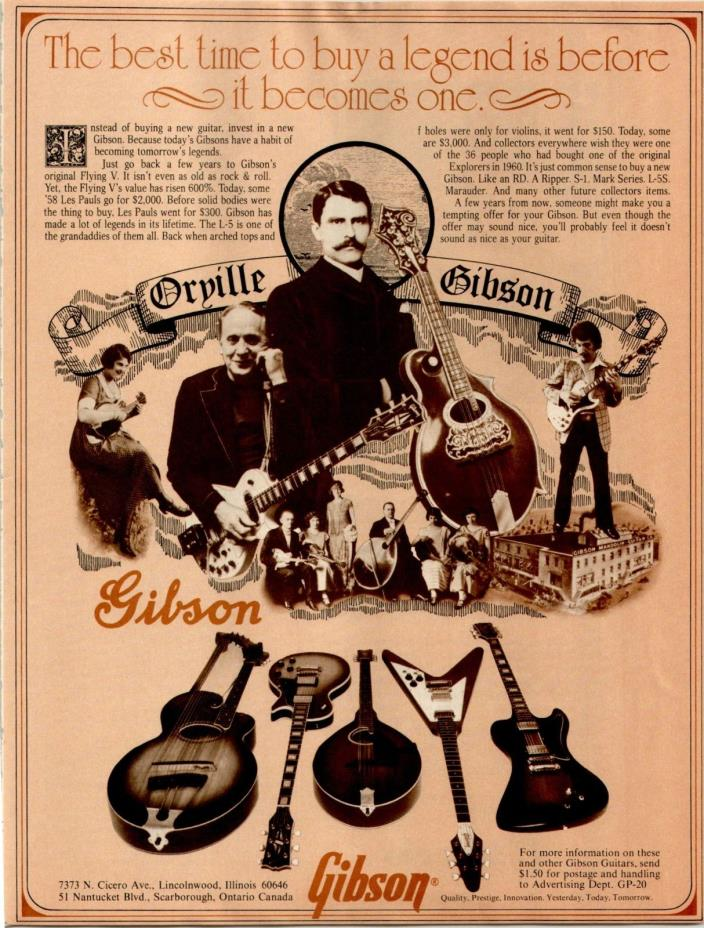 1978 ORVILLE GIBSON GUITAR MAGAZINE PRINT AD... READY FOR FRAMING..