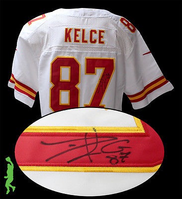 TRAVIS KELCE AUTOGRAPHED SIGNED KANSAS CITY CHIEFS FOOTBALL JERSEY JSA COA