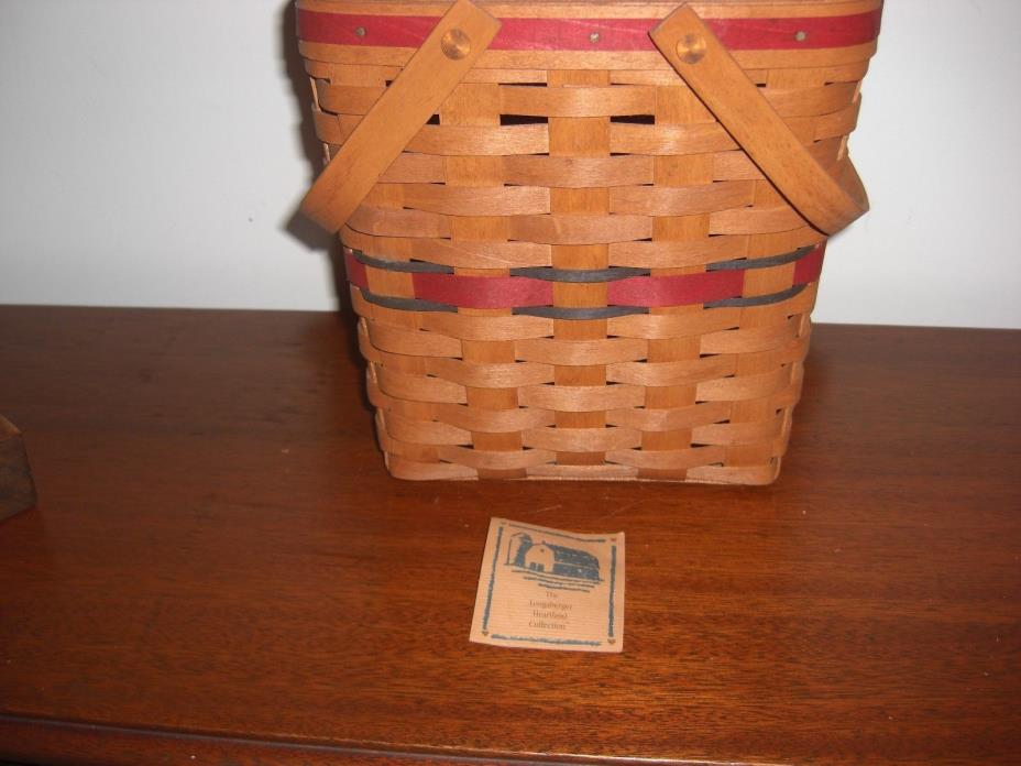 SIGNED 1991 LONGABERGER HEARTLAND COLLECTION BASKET WITH MOVABLE HANDLES