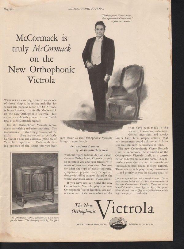 1927 VICTROLA GRAMOPHONE MUSIC JOHN MCCORMACK CONCTOR12784