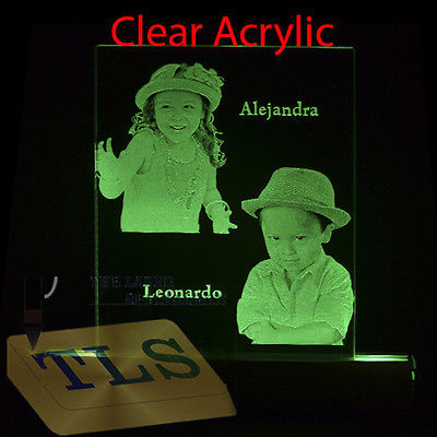 Laser photo engraving with color changing illuminated base