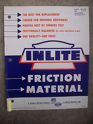 Vintage Rare 1952 Inlite Friction Material GM General Motors Book 22-pages