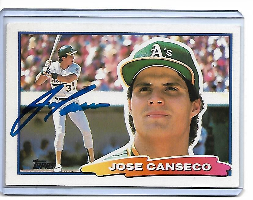 Jose Canseco Autographed 1988 Topps Baseball Card #13-Notarized COA