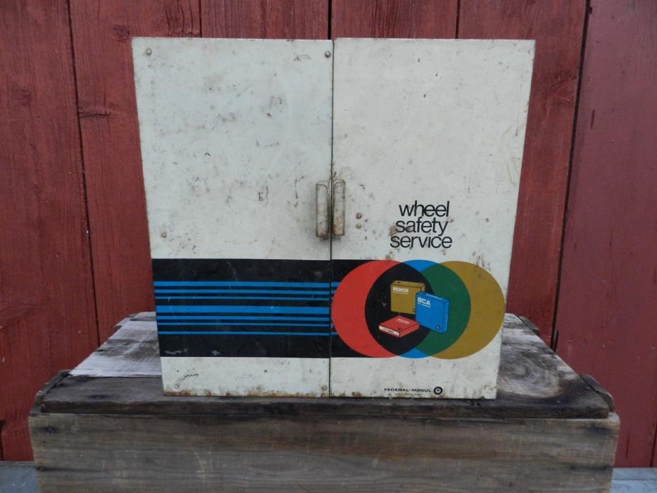 Vintage Metal Auto Cabinet Federal Mogul Metal Display Storage Cabinet W/SEALS