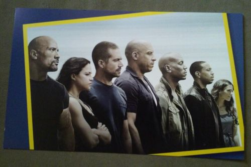 Movie Poster 12 x 7.5 inch collectable cardstock the fast and furious series