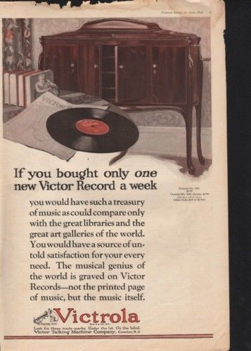 1923 VICTROLA RECORD PLAYER MUSIC DISC PHONOGRAPH OPERA10045