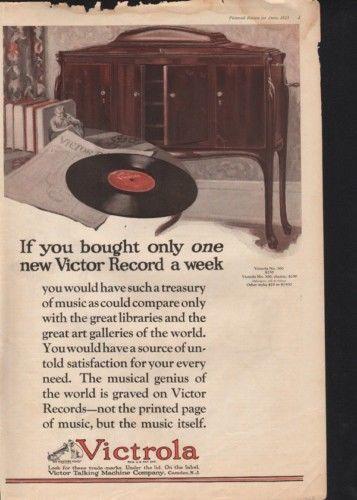 1923 VICTROLA RECORD PLAYER MUSIC DISC PHONOGRAPH OPERA10045