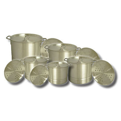 King Kooker 5 Piece Aluminum Pot Set with Lids and Steamer Plates Steam Boil New
