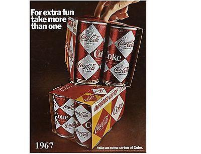 Coke Cola Diamond Can Soda Ad 1967  NEW! Refrigerator / Tool Box / Magnet