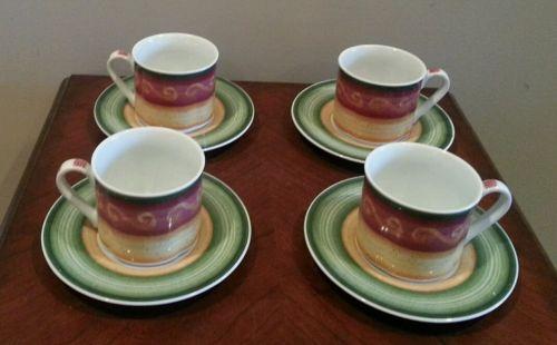 Set of 4 Villeroy & Boch WINTER SEASON Demitasse Cups & Saucers