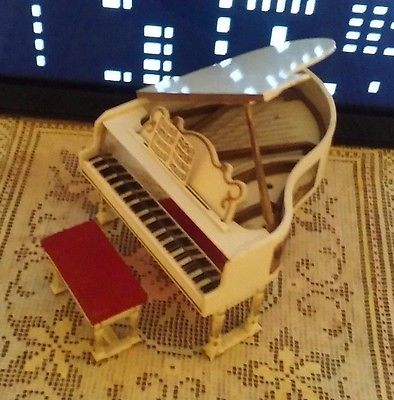 Vintage Ideal Petite Princess GRAND PIANO and BENCH - MUSIC Dollhouse Furniture