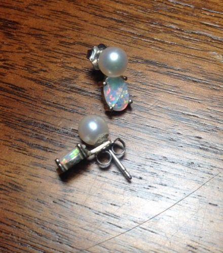 14K Pearl Opal Earings