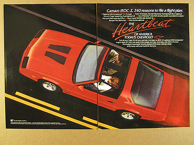1989 Chevy Camaro IROC-Z Coupe red t-top car photo vintage print Ad