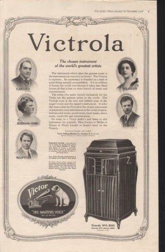 1918 VICTOR VICTROLA PHONOGRAPH CARUSO ELMAN MUSIC SONG12965