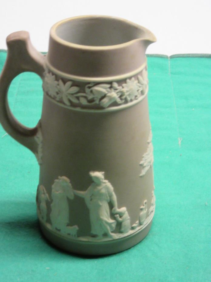 Antique Jasperware by Wedgwood dusty rose pitcher 4 3/4