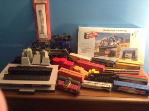 vintage train set lot assorted vintages trains and bridge